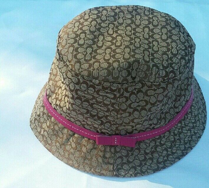 e02dde3d3a2ae2 COACH Bucket Sun Hat Brown with Pink Leather Trim Mini Signature C Kids S/M  - $44.55