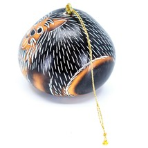 Handcrafted Carved Gourd Art Yorkshire Terrier Yorkie Puppy Dog Ornament Peru image 2