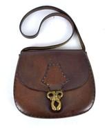 Vtg 60s Thick Brown Leather Western Side Saddle Hippie Purse Shoulder Ba... - $34.64
