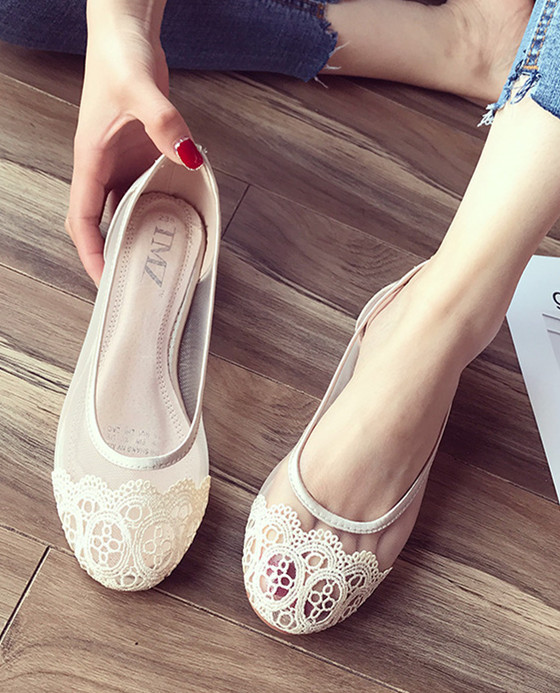 Primary image for Champagne Lace Wedding Shoes/ Beige Lace Flat Shoes/ Ivory Lace Flats Shoes