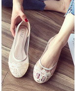 Champagne Lace Wedding Shoes/ Beige Lace Flat Shoes/ Ivory Lace Flats Shoes - $38.00