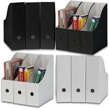 Simple Houseware White / Black Magazine File Holder Organizer Box (Pack ... - $24.53