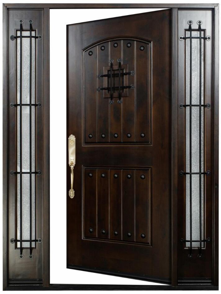 Knotty alder front exterior wood entry door 1d 2sl 12 36 - 28 inch exterior steel door for sale ...