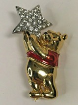 Vintage Disney Winnie The Pooh Gold/Red Enamel Rhinestone Star 1x1-31  - $26.52
