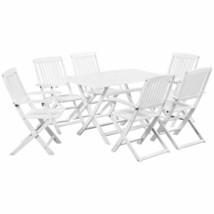vidaXL Solid Acacia Wood 7 Piece Outdoor Dining Set White Garden Table C... - $278.99