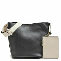 Guess NWT Black Beige Olive Tote Bucket Bag Faux Leather Magnetic Pouch Logo - $49.62