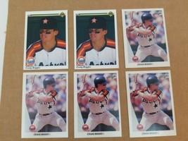 Craig Biggio Lot of 6 Baseball Cards 1990 Upper Deck #104 1990 Leaf #37 ... - $9.74