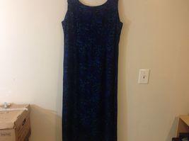 Studio I Black Sleeveless Dress w Blue/Teal Foliage Pattern Sz 18 image 5