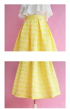 Lady Yellow Midi Party Skirt Spring Plus Size Full Pleated Skirt w. Wing Pattern image 6