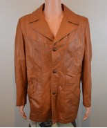 Vintage 1970s Sears Leather Shop Collection Tan Jacket w/ Removable Line... - $57.99