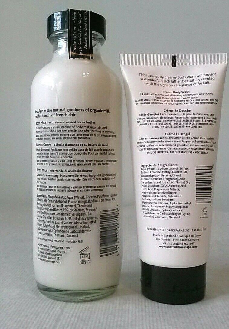 Scottish Fine Soaps AU LAIT Body Butter & 15.5oz Body Milk LARGE both are SEALED image 4