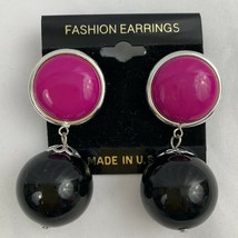 Vintage Plastic Drop Dangle Earrings Chunky Beaded Bead Pink Black NOS 8... - $12.58