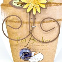 Bluebird Blue Bird Yellow Flower Metal Garden Pot Sticker image 3