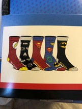 DC COMICS THE FLASH Batman JUSTICE LEAGUE  New Men's 5 Pair CREW SOCKS s... - $19.79