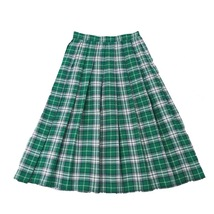 Plus Size GREEN Plaid Skirt Women Girl Long Pleated Skirt Full Green Plaid Skirt image 3