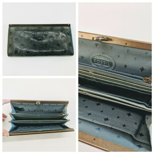 Vintage Fossil Gray Slate Blue Stamped Leather Clutch Wallet Organizer 8x4.5""