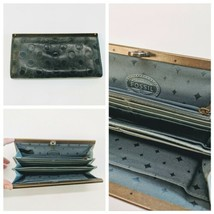 Vintage Fossil Gray Slate Blue Stamped Leather Clutch Wallet Organizer 8... - $32.89