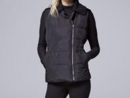 Simply Vera Vera Wang Sherpa Collar Puffer Jacket Vest M Medium - $59.38
