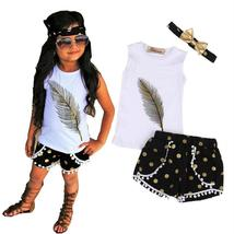 Girls sleeveless vest top+tassels+bottom+headband outfit - $9.98