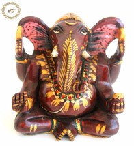 Wooden Ganesha Statue Carved Sculpture Handmade Painted Figurine Home Decor - $19.95
