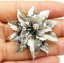DANECRAFT 925 Silver - Vintage Sculpted Flower Motif Brooch Pin - BP2930 - $27.33