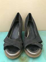 American Eagle Black Jean Wedge Heels Peep Toe Women's Size 8 - $4.99