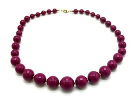 Pink Purple Acrylic Bead Beaded Graduated Gold Tone Choker Necklace - $12.47