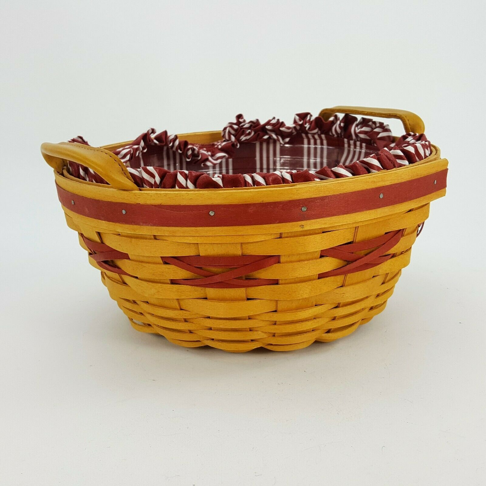 Longaberger 1999 Christmas Popcorn Basket w Protector & Red White Liner 15156 image 5