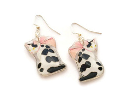 New Pretty Cat Pink Bow Kitten Resin Earrings Animal Pet Black White Jew... - $10.99