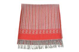 """FENDI: Red/Gray Stripe & """"FF"""" Logo, Long Wool Scarf 68"""" x 15"""" (xz) - $319.99"""