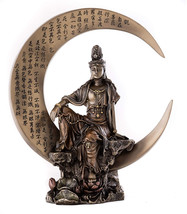 Top Collection Guan Yin Statue In Royal Ease Pose On Crescent Moon- Kwan... - $89.70