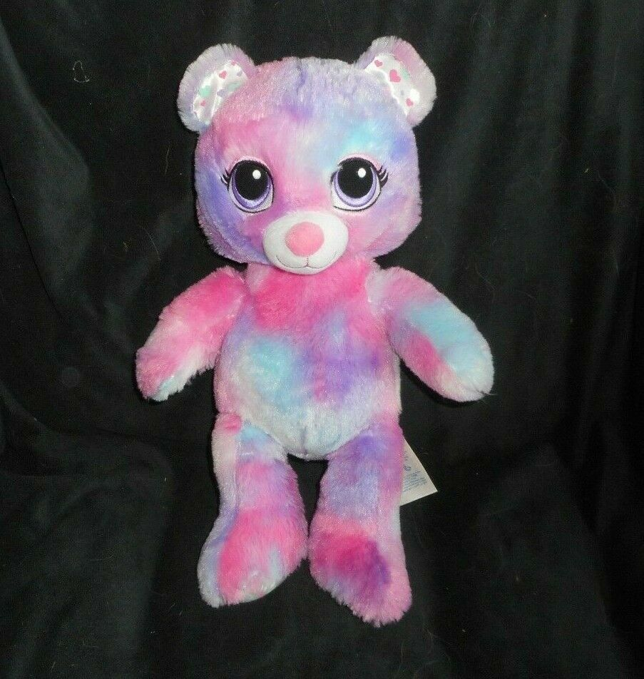 "Primary image for 17"" BUILD A BEAR PANDA PINK BLUE PURPLE W/ HEARTS STUFFED ANIMAL PLUSH TOY BABW"
