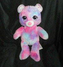 "17"" BUILD A BEAR PANDA PINK BLUE PURPLE W/ HEARTS STUFFED ANIMAL PLUSH T... - $28.05"