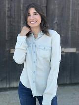 XS Calvin Klein Long Sleeve Chambray Pale Denim Snap Front Western Blouse/Shirt - $31.68