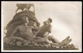 Neptune Trident Sea Serpant Statue Woman Tourist Poses Vintage Photo - $14.99