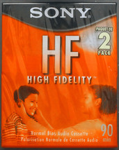 Lot of 2 blank Audio Compact Cassettes Tapes SONY HF-90 (sealed) (BLM0011) - $9.50