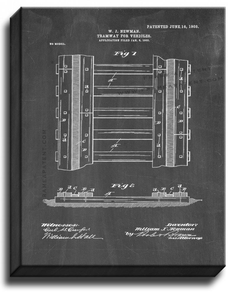Primary image for Tramway for Vehicles Patent Print Chalkboard on Canvas