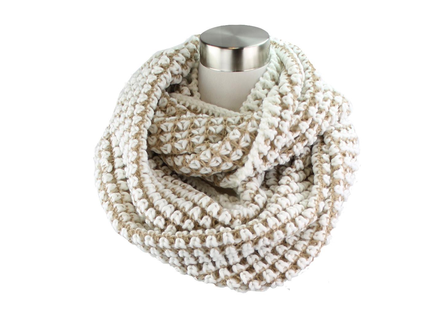 Two- Tone Big Knit Infinity Scarf