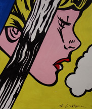 "Roy Lichtenstein ""Girl, thinking"" HD print on canvas huge wall picture 2... - $24.74"