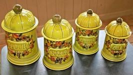 Los Angeles Potteries 1967 Green Ceramic Canister Set Fruit Motif Vintage - $80.74