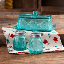 New The Pioneer Woman Adeline Turquoise Glass Butter Dish Salt Pepper Sh... - $31.65