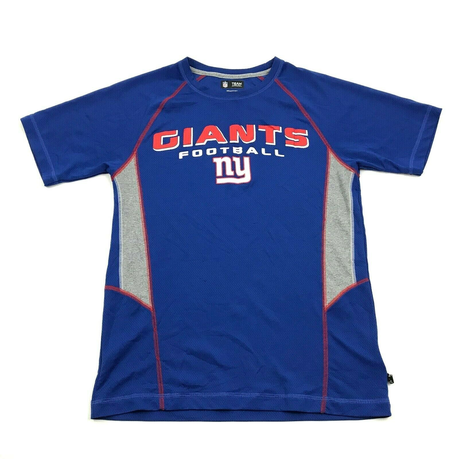 Primary image for NFL Team New York GIANTS Football Dry Fit Shirt Size S Small Royal Blue Graphic