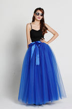 Cobalt Blue Full Tulle Skirt Women Maxi Tulle Skirt Evening Wedding Photo Skirts image 1