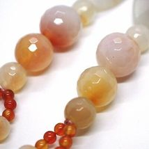 Long Necklace 100 cm, 1 Meter Agate Red and Brown, Spheres Ovals, Double Thread image 5