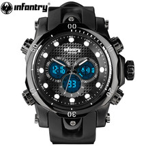 INFANTRY Large 51mm Face Men Military Watch Dual Display - $51.99
