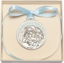 Crib Medal - Pewter Baby with Angel with Blue Ribbon