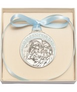 Crib Medal - Pewter Baby with Angel with Blue Ribbon - $39.99