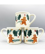 3 Hartstone Gingerbread Mugs Christmas Coffee Holly Berries Pine USA Pot... - $37.19