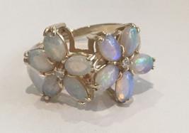 14k Yellow Gold Australian Opal & Diamond Ring ... - $275.00