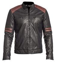 Mens Retro Powerhorse Moto Rider Cafe Racer Black Biker Leather Jacket image 1